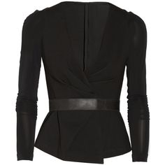 Donna Karan Modern Icons pleated ponte jacket (€580) ❤ liked on Polyvore featuring outerwear, jackets, tops, coats & jackets, coats, black, smart, black leather belt, leather belt and donna karan