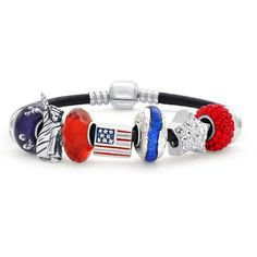 Bling Jewelry Christmas Gifts 925 Sterling Silver Patriotic American... ($80) ❤ liked on Polyvore featuring jewelry, bracelets, red, heart charm, star charm bracelet, charm bracelet, red heart charm and sterling silver bangles