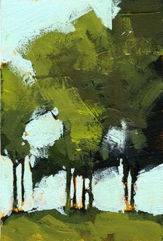 Green poplars | Acrylic on paper 6 x 4 inches 2014 | Paul Bailey | Flickr