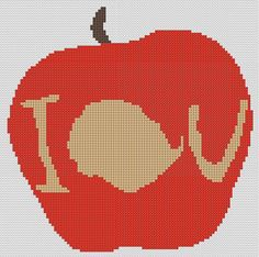 Counted Cross Stitch Pattern, BBC Sherlock Moriarty IOU apple, Instant Download, PDF Pattern