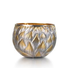 Miriam Hanid - 'Zephyr's Breath': Tumbler Bowl, Fine silver, Hand raised, chased and gilt. (10x10x7.5cm) Chased with leaf themes and gilt tips, inspired by gold chased work in the Cairo Museum. http://directory.thegoldsmiths.co.uk/seasonal/spring/#modal18 #Silversmith #Silversmithing #Bowl #Silver #Gold #Tumbler #Handmade