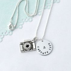 Personalized initial camera necklace Capture by myjewelrystory
