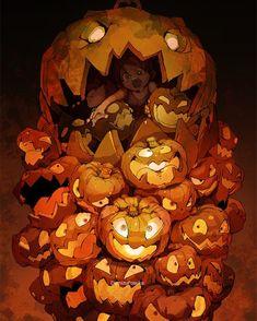 [Halloween] Art by 出水ぽすか* Character Design References, Character Art, Art Anime, Art Et Illustration, Inspiration Art, Monster Art, Halloween Art, Art Plastique, Fan Art