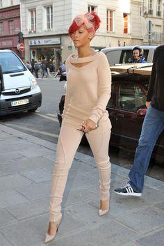 Rihanna at Paris Fashion Week:  Nude Louboutins, Altuzarra Wool Sweater & Netted Bow