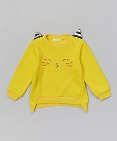 {inspiration} Look what I found on #zulily! Yellow Cat Sweatshirt - Infant, Toddler & Girls #zulilyfinds