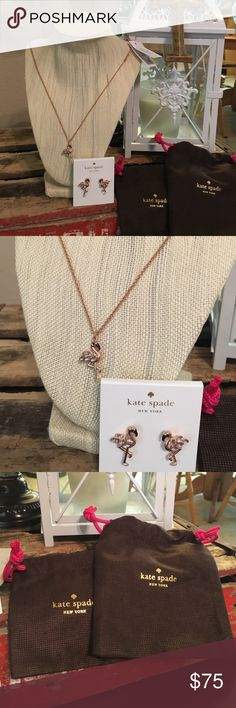 NWT, Kate Spade Flamingo Earrings & Necklace, firm Brand new with tags! Authentic Kate Spade Flamingo Necklace And Earrings. Hard to find. Style pink multi , birds the word. Costume jewelry. Price FIRM! No Trades. Comes with dust bag for each. A small one and a necklace sized one as seen in photos. kate spade Jewelry Necklaces