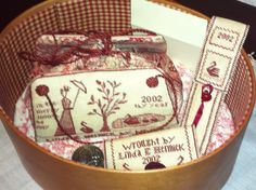 Stitched in 2002 - Lined shaker box, sewing bag, button bag, ruler holder, thread waxer, scissor fob. Sewing Kits, Sewing Box, Sewing Tables, Cross Stitch Finishing, Needle Book, Rubber Stamping, Rug Hooking, Pin Cushions, Wells