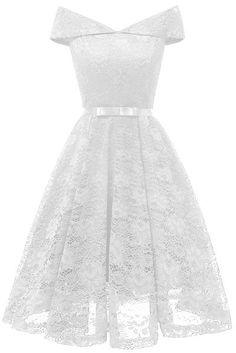 LaceShe Women's Vintage Off Shoulder Lace Dress Dama Dresses, Grad Dresses, Homecoming Dresses, Short Dresses, Formal Dresses, Pretty Dresses, Beautiful Dresses, Off Shoulder Lace Dress, Confirmation Dresses