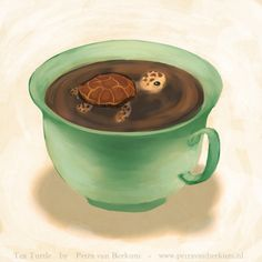 I was drinking tea while drawing a turtle… so I drew a tea turtle!