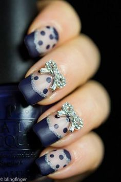 20 Unique Nail Art Ideas and Designs for New Year's Eve How freakin adorable are those bows!!