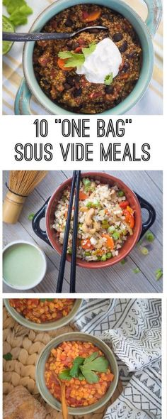 10 recipes for one bag healthy sous vide meals and also includes traditional cooking intructions.
