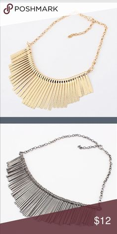 Gold statement necklace! Flexible shape! I only have the gold one in the first picture. (2nd picture used just to show you the necklaces shape is flexible).  Worn once, I'm not crazy about it! Jewelry Necklaces
