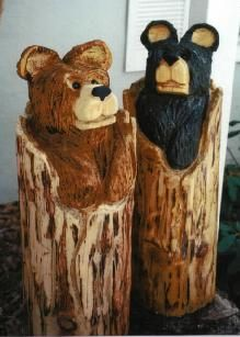Love these bears. Chainsaw carved by Suzette H.