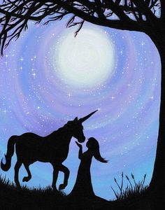 A Girl and her Unicorn Under the full moon. Anything can happen. Dreams really do come true. This magic moment was created using blue, white, red, yellow and black. Original is 11x14 inches, acrylic on canvas. The original painting already has a home; I am offering only high quality photo prints of the original painting. Signed by artist. Are you shopping for an original painting, custom made for you or a loved one? I AM NOW TAKING ORDERS FOR CUSTOM PAINTINGS Message me for inquiries & re...