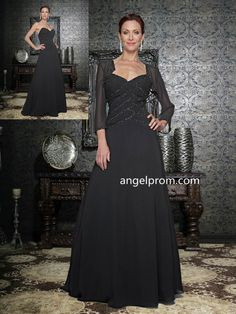 2015 Style A-line Straps Floor-length Chiffon Mother of the Bride Dress