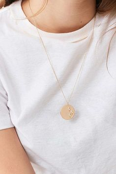 Slide View: 1: Elizabeth Stone Geo Diamond Coin Pendant Necklace