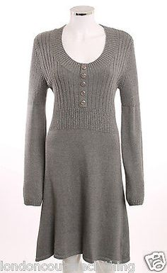 NWT CASUAL WEAR VENUS SCOOP NECK  BUTTON FRONT BELL SLEEVE SWEATER DRESS SZ L