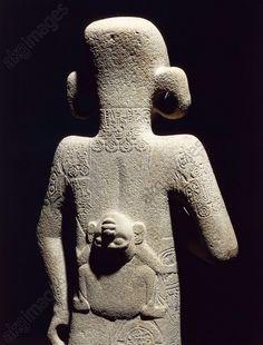 Huaxtec civilization, Mexico 6th–9th century A.D. Stone statue of boy, back side. From El Tajin. Mexico City, Museo Nacional De Antropología (Anthropology Museum)