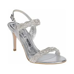 A glamorous GINA sandal, elegantly hand woven Swarovski 'Crystal' diamante, with vibrant metallic silver mist leather complimented on a sculpted 85mm heel.