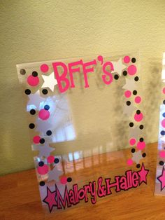 Picture frame: Personalized clear acrylic picture frame, name, polka dots, 8 x 10. $12.00, via Etsy.