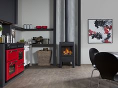 Modern gas stove with Faber log burner Odense, Gas Stove, Electric Fireplace, Locker Storage, Home Appliances, Wood, Modern, Furniture, Home Decor