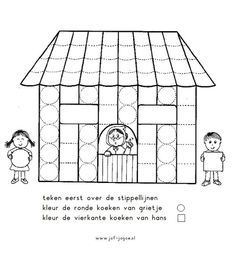 Worksheet Hansel and Gretel from Juf Joyce. First step: Draw the dotted lines. Second: Color the round cookies from Gretel. Third: Color the square cookies from Hansel.Werkblad Hans en Grietje volg de stappen ✏ van Juf Joyce