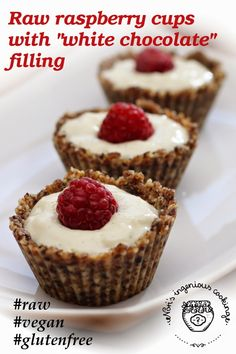 "Nóri's ingenious cooking: #Raw raspberry cups with ""white chocolate"" filling (#vegan, #glutenfree, #dessert)"