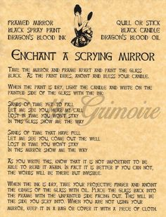 Enchant a Scrying Mirror spell page for Book of Shadows, BOS Pages, Witchcraft