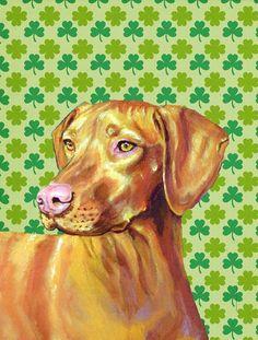 Vizsla St. Patrick's Day Shamrock Portrait Flag Canvas House Size