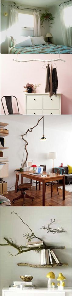 "Decorating with tree branches #diy. Love the curtain ""rod""."