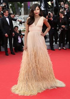 Frieda Pinto in a gorgeous feathered gown by Michael Kors  #Cannes 2014