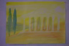 """5th Grade: Painting: Ancient History and Mythology; Greece: Temple by Day. """"While we Ourselves Such a Structure Might Raise"""". 