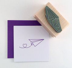 Paper Airplane with heart trail Rubber Stamp by cupcaketree, $5.50