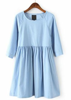 Blue Long Sleeve Corduroy Pleated Dress pictures
