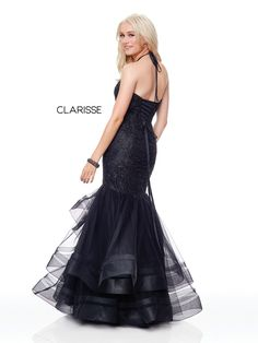 5016 - Black fit to flare prom dress with a lace top and tulle bottom