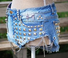 Custom Distressed Light Blue High Waisted Studded Denim Shorts with Chains.