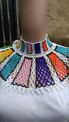 Beaded necklace  Ndebele herringbone and net stitch