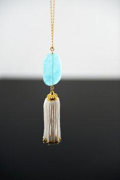 Long aqua tassel necklace!!