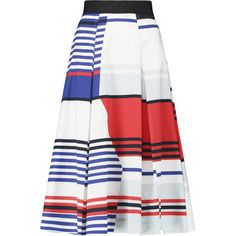 Milly Pleated printed cotton-blend midi skirt ($270) ❤ liked on Polyvore featuring skirts, white, zipper skirt, pleated midi skirt, white knee length skirt, midi skirt and calf length skirts
