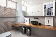 Decoração, Decoração de apartamento, Apartamento, ambiente integrado, decoração clean, banheiro, banheiro decorado, lavabo, lavabo decorado, revestimento.