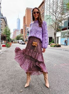 purple colorful knit sweater mini bag street style