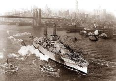 USS Arizona making way up the East River to Brooklyn Navy Yard. 1931