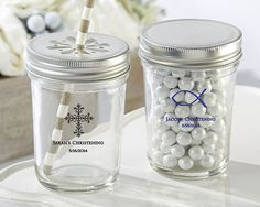 Personalized Printed Glass Mason Jar Favor Religious Favor  | SET of 12 for $15.68 at www.EventDazzle.com  | Religious Favors |Christening Favors | Baptism Favors | Bar Mitzvah Favors | Personalized Favors | Communion Favors