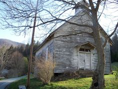 Roan Mountain, Tennessee - apparently someone was killed in this church in the 1920's and it's been abandoned.