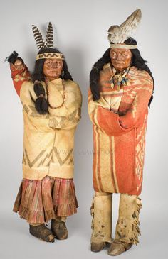 Antique Skookum Indian Dolls, Store Display Figures, Family of Three, entire view