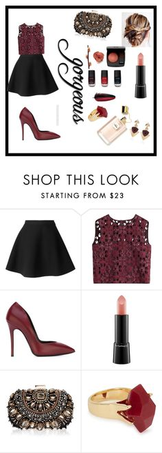 """Black&Bordeaux #11"" by snhm ❤ liked on Polyvore featuring MSGM, Alberta Ferretti, Giuseppe Zanotti, MAC Cosmetics, Chanel, Lipsy, Lola Rose and White House Black Market"