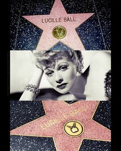 Lucille Ball's ~two stars~ on the Hollywood Walk of Fame, on South side of the 6100 block of Hollywood Boulevard the on the South side of the 6400 block of Hollywood Boulevard Hollywood Star Walk, Classic Hollywood, Old Hollywood, Hollywood Boulevard, I Love Lucy Show, Queens Of Comedy, Lucille Ball Desi Arnaz, Lucy And Ricky, Star Of The Day