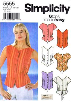 Simplicity Sewing Pattern 5555 Misses Size 16-18-20-22 Easy Button Front Top Shirt Blouse Vest  --  Need a different size or pattern? Check out our store www.MoonwishesSewingandCrafts.com for 8000+ uncut sewing patterns all sizes and styles!