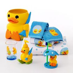 Our Bathroom set. This is the fiacee's pick so he got it! and I thought it was cute, it brought out the child in us :)
