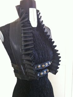 Upcycled Bicycle Inner Tube Ruffle Vest Strap Halter Top Burning Man Goth Fetish Post Apocalyptic Steampunk Adjustable Harness Underbust. via Etsy.
